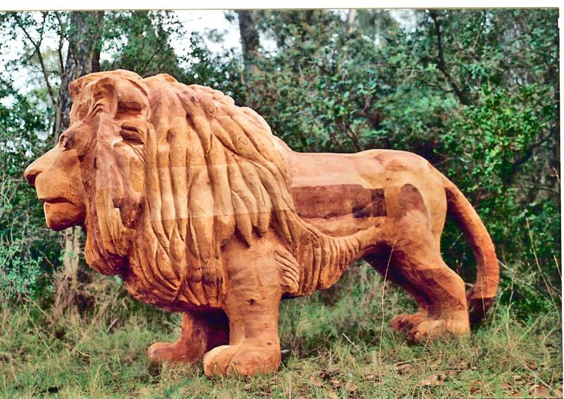 sculpture en bois massif taille r elle pour parcs et jardins publics et priv s lion. Black Bedroom Furniture Sets. Home Design Ideas